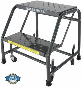 2 Step Rolling Ladder Steel Mobile Stand Step Slip resistant Safe Perforated New