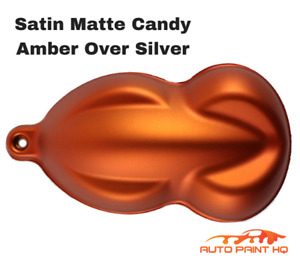 Satin Flat Candy Amber Over Silver Basecoat Tri Coat Quart Auto Paint Kit