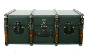 Stateroom Steamer Travel Trunk Petrol Coffee Table Wood Chest Storage Furniture