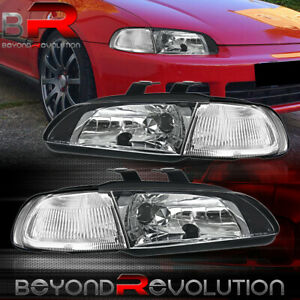 For 92 95 Honda Civic Eg 2 3dr 1pc Jdm Black Clear Headlights With Corner Lamps
