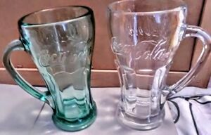 Pair of Coca Cola Mugs  Thick Retro Glass 6 in Tall  Handles FREE SHIPPING USA