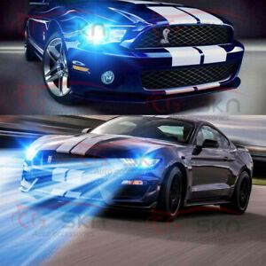 Led Headlight Hi Lo Beam Kit H13 9008 8000k Bulbs For 2005 2012 Ford Mustang Gt