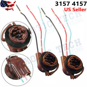 2x 3157 4157 Bulb Socket Pig Tail Harness Wire Plug For Turn Signal Brake Light