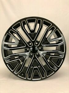 4 New 2019 Gmc Replica Wheels Gloss Black And Milled 24 Replica Chevy Gmc 1500