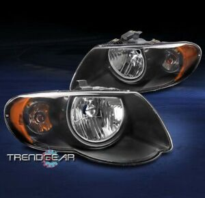 For 2005 2006 2007 Chrysler Town Country Replacement Headlights Headlamp Black