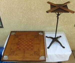 Antique 1901 The Owl Game Board Carrom W Cast Iron Stand Cue