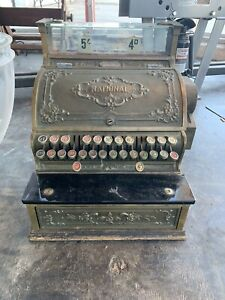Antique National Cash Register Co Solid Brass Early 1900s Working With Keys