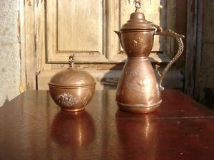 Vintage Copper Tea Coffee Pot With Camel Finial Plus Matching Sugar Bowl