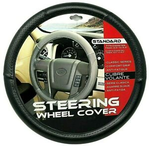 New Black Car Steering Wheel Cover Pu Leather Size M 14 5 15 5