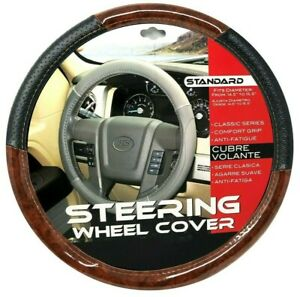 New Black Dark Wood Car Steering Wheel Cover Pu Leather Size M 14 5 15 5