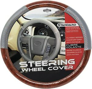 New Gray Dark Wood Car Steering Wheel Cover Pu Leather Size M 14 5 15 5