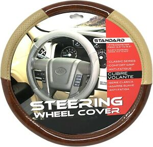 New Beige Dark Wood Car Steering Wheel Cover Pu Leather Size M 14 5 15 5