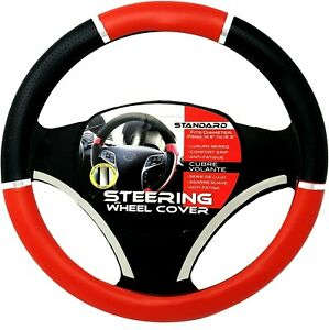 Red Black Chrome Accent Car Steering Wheel Cover Pu Leather Size M 14 5 15 5