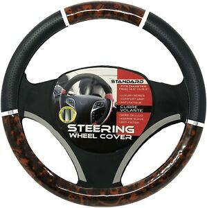 Black Dark Wood Car Steering Wheel Cover Pu Leather Size M 14 5 15 5 New