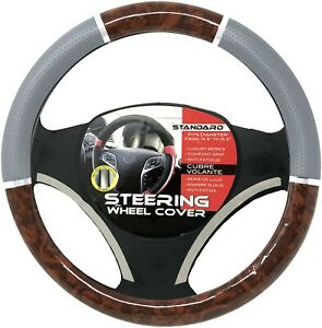 Gray Dark Wood Chrome Car Steering Wheel Cover Pu Leather Size M 14 5 15 5