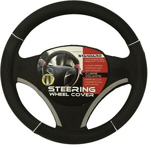 Black Chrome Accents Car Steering Wheel Cover Pu Leather Size M 14 5 15 5