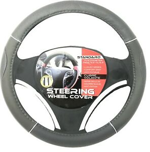 New Gray Chrome Accents Car Steering Wheel Cover Pu Leather Size M 14 5 15 5