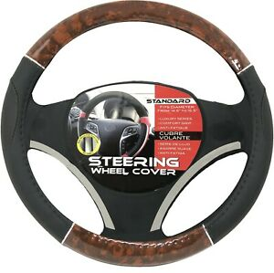 Black Dark Wood Chrome Car Steering Wheel Cover Pu Leather Size M 14 5 15 5