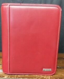Franklin Covey 7 Ring Binder Organizer With Cards Dividers 10 x8 Red Zip Around