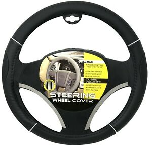 New Black Chrome Accents Car Steering Wheel Cover Pu Leather Size L 15 16