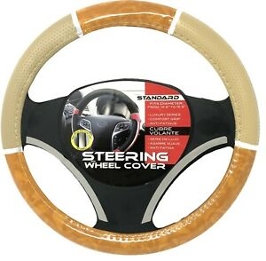 Beige Light Wood Chrome Car Steering Wheel Cover Pu Leather Size M 14 5 15 5
