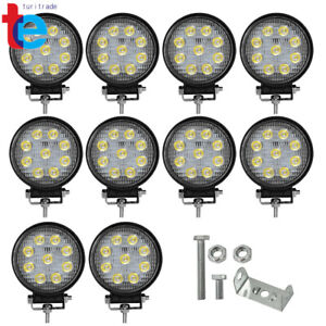 10x 4inch 27w 12v Round Led Work Lights Pod Spot Beam Offroad Fog Driving Light