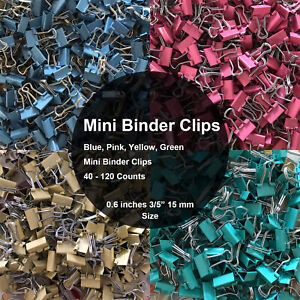 Mini Binder Clips Mix Colored 3 5 Paper Clamp 0 6 In Size 40 120 Per A Bag