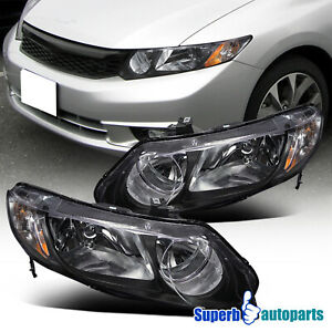 For 2006 2011 Honda Civic 4dr Style Headlights Black Replacement