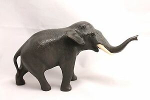 Antique Japanese Bronze Elephant Figurine Meiji Period Mark 1868 1912