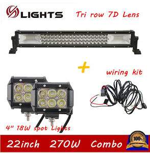 22inch 120w Led Light Bar Offroad Truck Combo Lamp 20 21 18w Pods Wiring Kit
