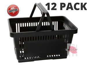 12 Pack Black Plastic Shopping Baskets Grocery Convenience Store Retail Tote