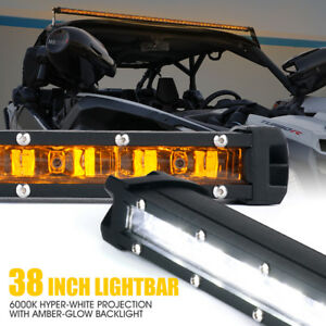 Xprite 38 Inch Single Row Led Driving Work Light Bar Amber Backlight Offroad