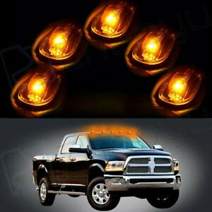 5pcs T10 Warm White Led Smoke Covers Roof Cab Marker Truck Suv Vans Light Lamps