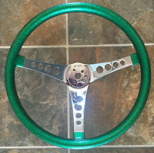 Vtg Superior Performance Products The 500 Green Metal Flake Steering Wheel