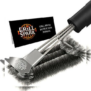 Grill Spark Brush And Scraper 18 Inch Stainless Steel Wire Bristles