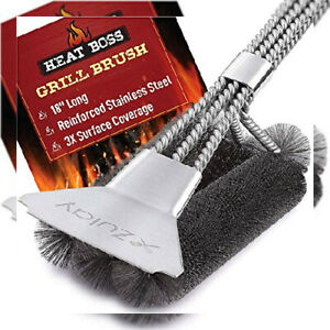 18 Heat Boss Grill Brush And Scraper 3 Rows Of Reinforced Stainless Steel