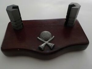 Golf Themed With Wood Base Business Card Holder