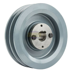 Cast Iron 5 75 2 Groove Dual Belt B Section 5l Pulley W 1 Sheave Bushing