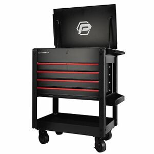 Powerbuilt 31 In 5 Drawer Rolling Tool Box Cart 18 Gauge With 5 In Casters