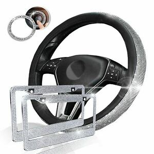 Zone Tech Bling Set Steering Wheel Cover License Plate Frame Ignition Sticker