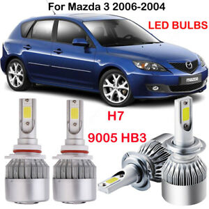 For Mazda 3 2006 2004 Front H7 9005 Hb3 Led Headlight Kit Power Bulbs Replace