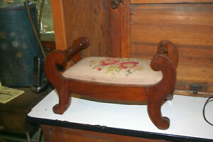 Reduced Vintage Needlepoint Foot Stool Bench Antique Wooden Childs Miniature