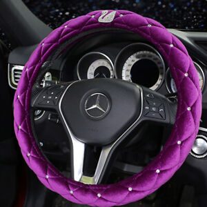 Warm Plush Car Steering Wheel Cover 38cm Bling Diamond Rhinestone swan Purple