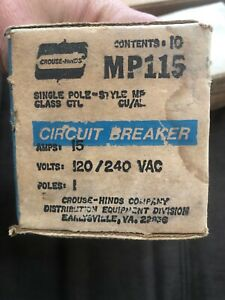 Lot Of 10 Crouse Hinds 15 Amp 1 Pole Mp c Mp115 Circuit Breaker