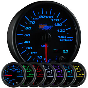 Glowshift 3 3 4 Black 7 Color Speedometer Gauge 0 140 Mph W Digital Readout