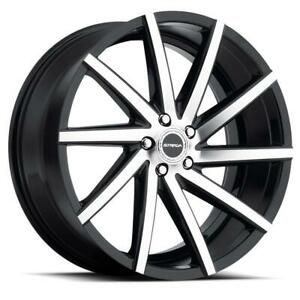 22 Inch 22x9 Strada Sega Black Machined Wheels Rims 5x120 35