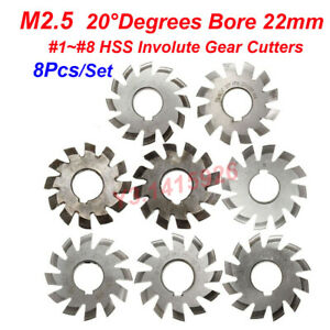 8pcs set Hss M2 5 Bore 22mm Pa 20 degree 1 2 3 4 5 6 7 8 Involute Gear Cutter