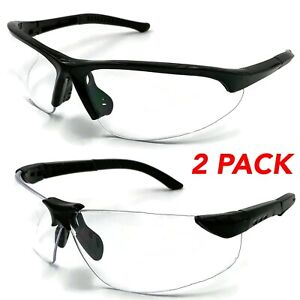 2 Pair Pack Protective Safety Glasses Clear Lens Work Uv Ansi Z87 Lot Of 2