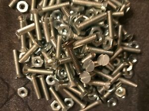 Lot stove Bolts machine Screws Flat Head 3 16 By 1 Long 3 19 Lbs With Nuts