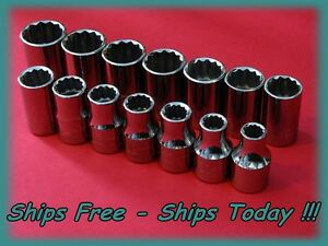 Craftsman Socket Set 14 Piece 1 2 Drive 12 Pt Point Metric Mm Chrome Master